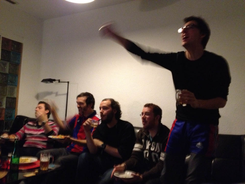 Barcelona just scored! Some were happy, some were not.