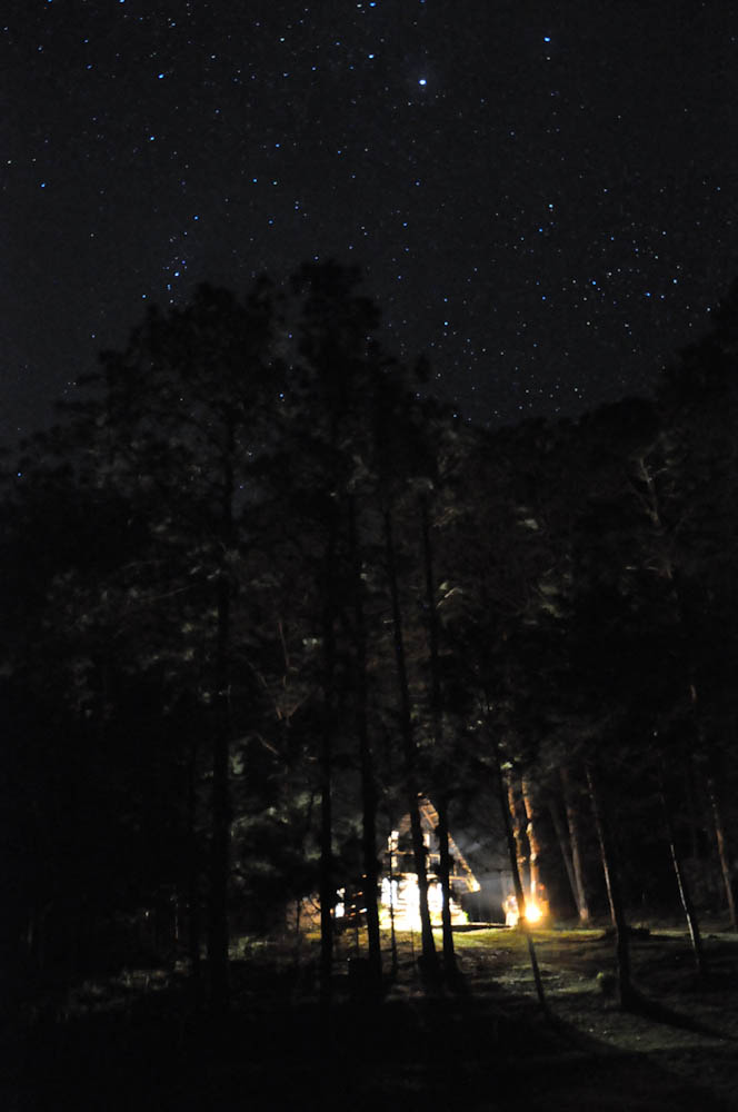 Stars in the sky, a bonfire and a night in the woods