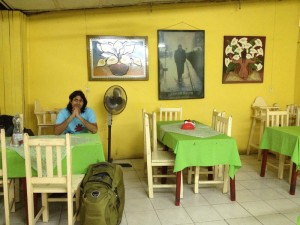 Simple colorful restaurant in Juchitan de Zaragoza. Note the odd presence of James Dean in the wall!