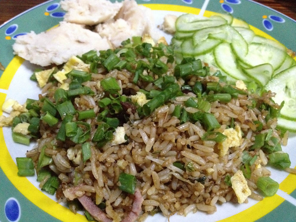 USD 1 fried rice with pork, in Calle 23 - Havana