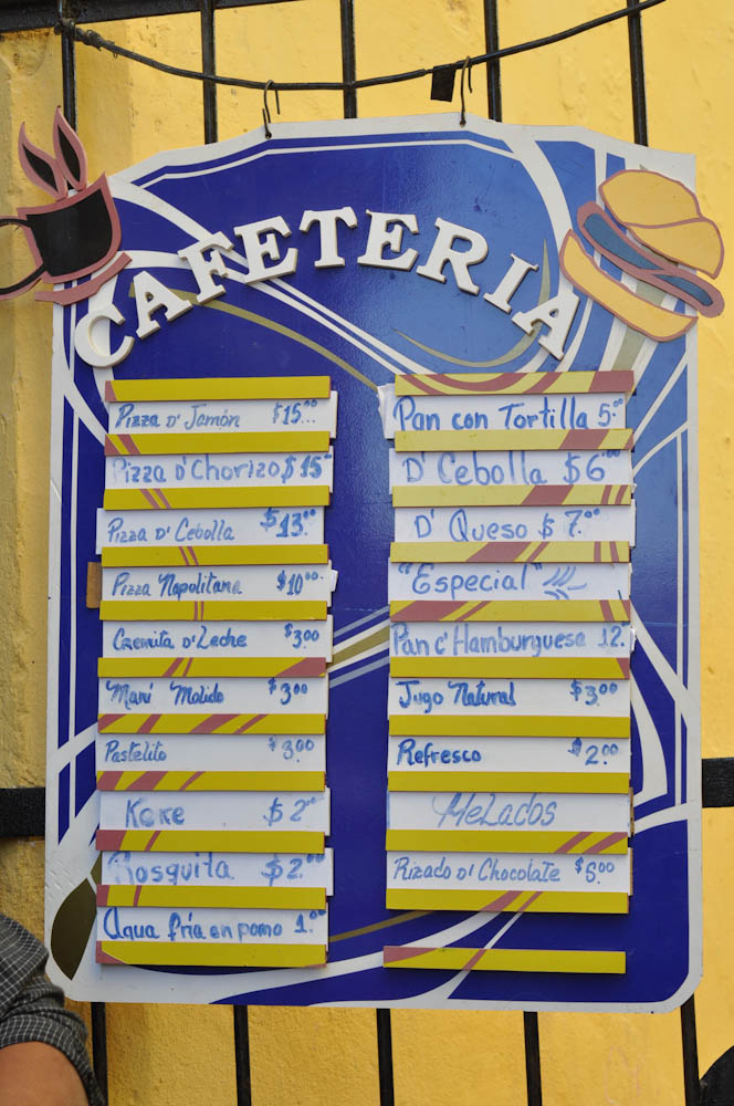 Menu at cafeteria counter in Havana