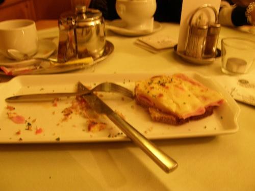Delicious ham, cheese and tomato sandwich
