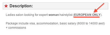 This ad leads me to think that an European hairdresser makes more money than many Asians in higher positions