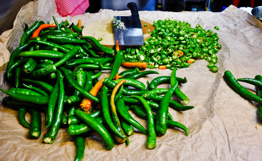 Chopping chillies are a Singaporean eatery