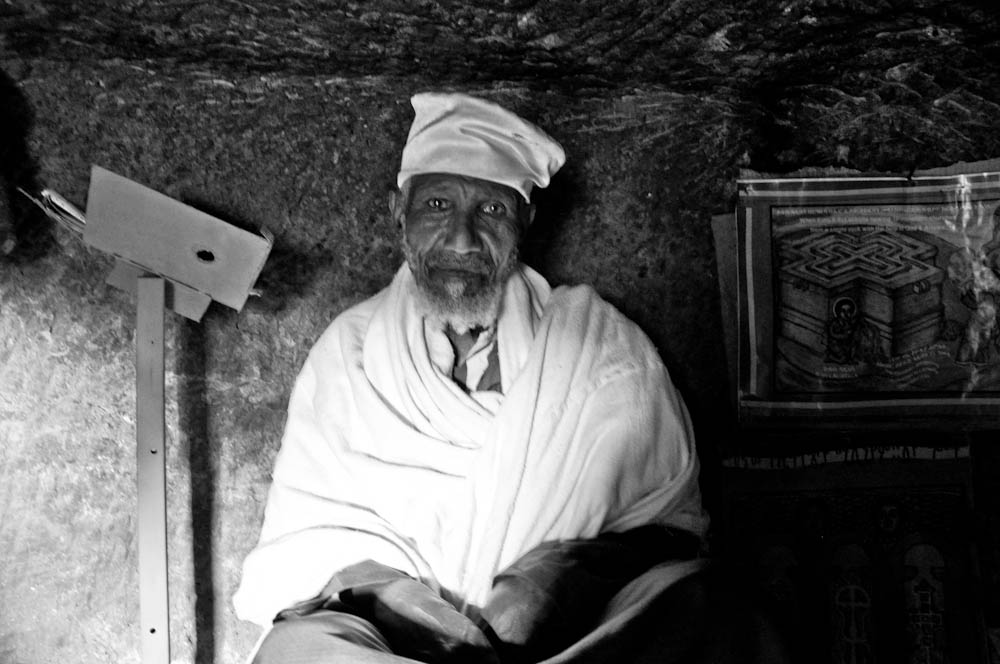 He lives in a cave in Lalibela, Ethiopia