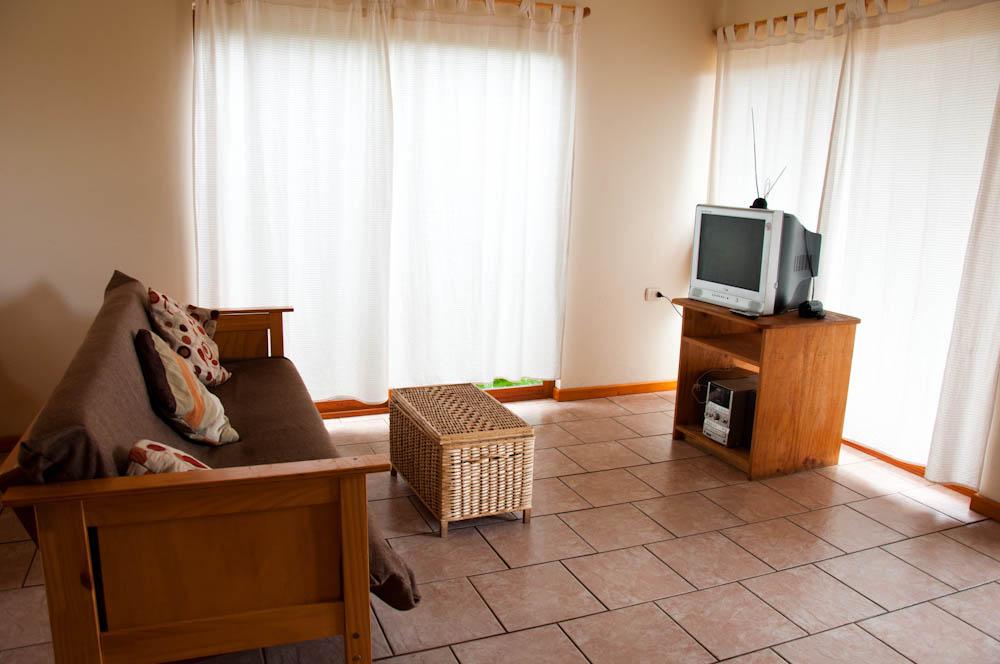 Living room at Tea Nui Cabins
