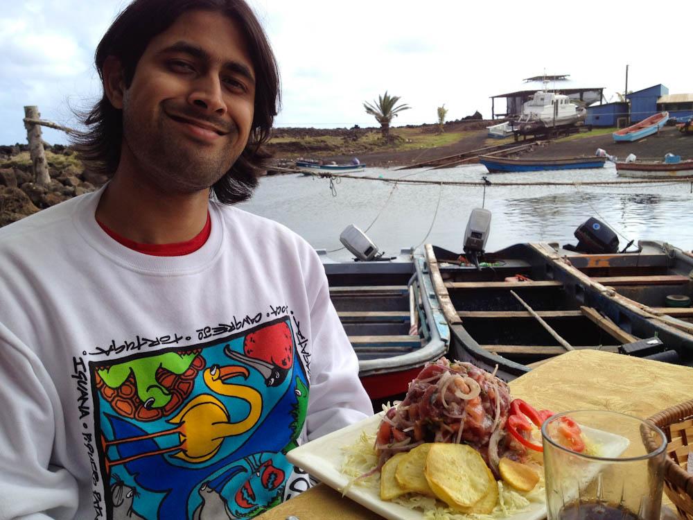 The happy man and his tuna ceviche