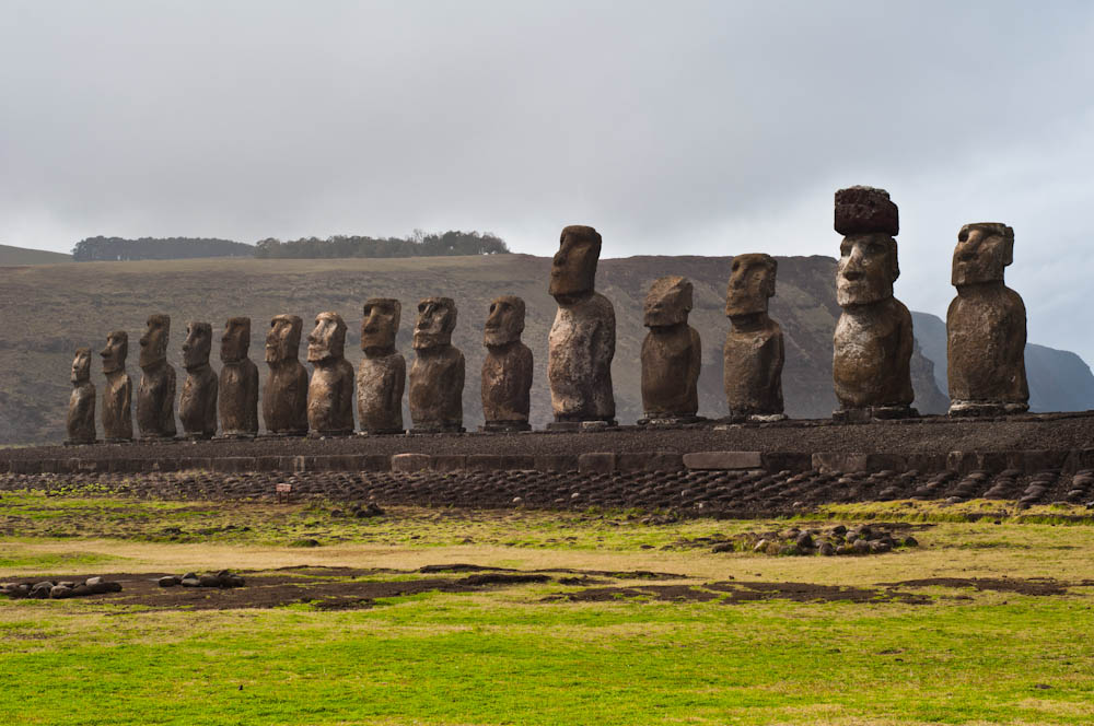 Ahu Tongariki on a cloudy day