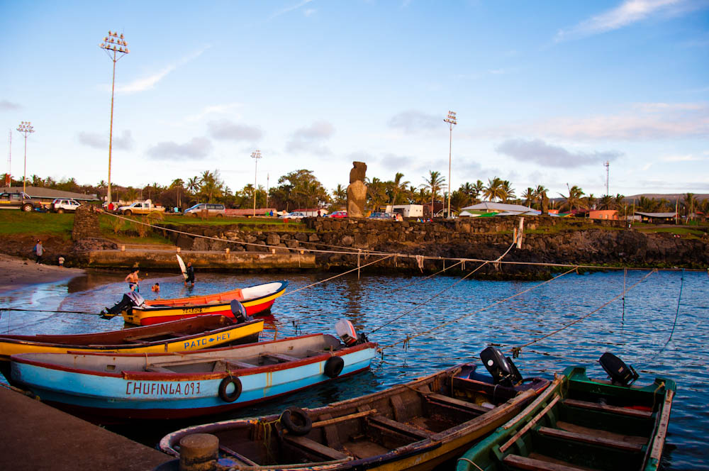 Fishing boats by one of Rapa Nui's ports