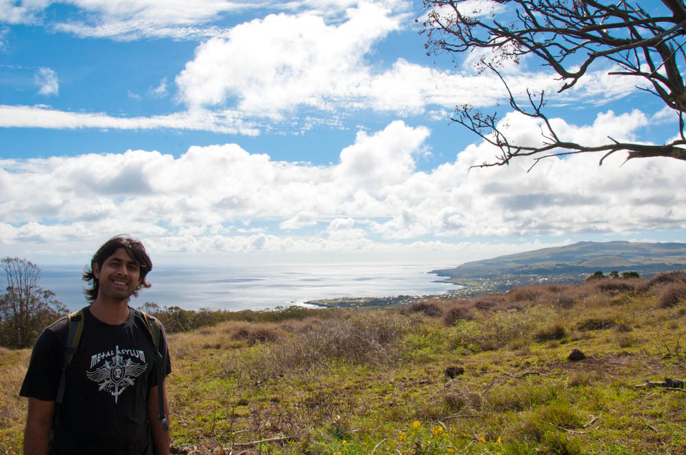 Climbing Rano Kao volcano, with a great view out to the Pacific!