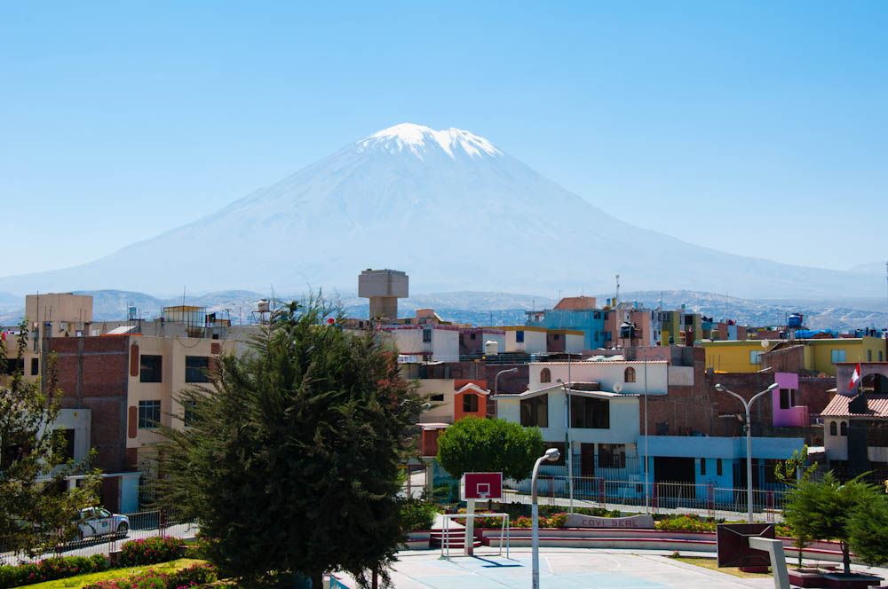 View of Misti volcano from the rooftop