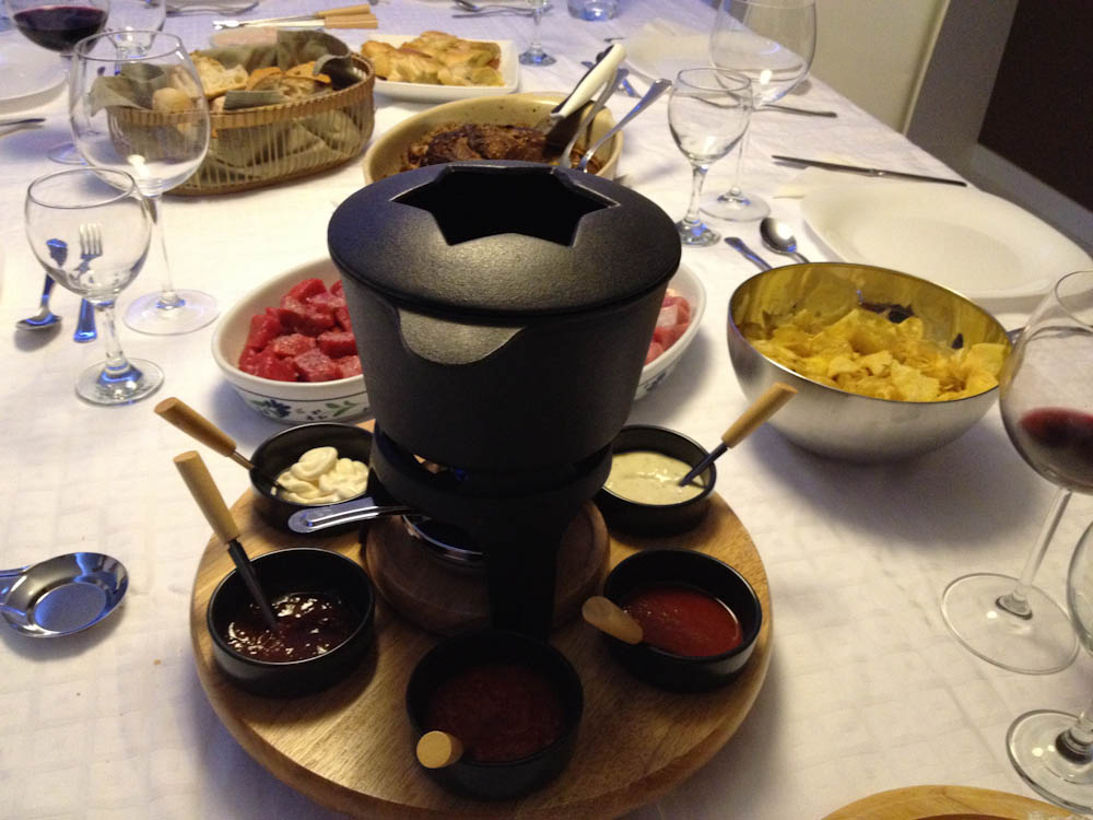 It's fondue night, at Adriana Lua's house