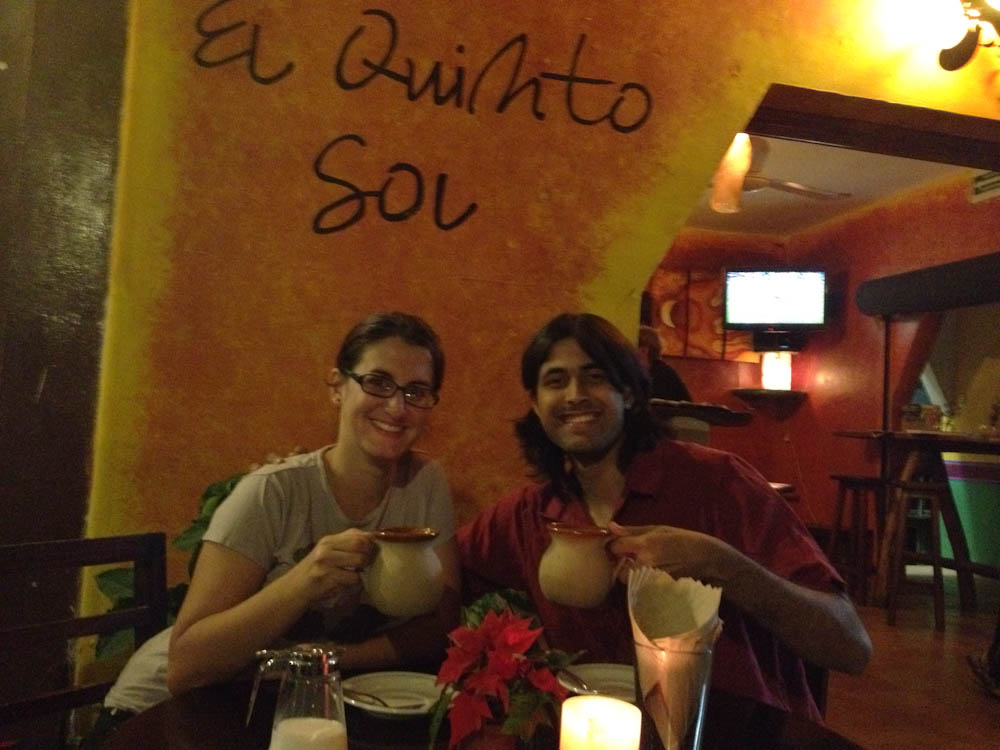 Sipping &quot;cafe de olla&quot;, the Mexican way of preparing coffee: very light and cinnamon infused