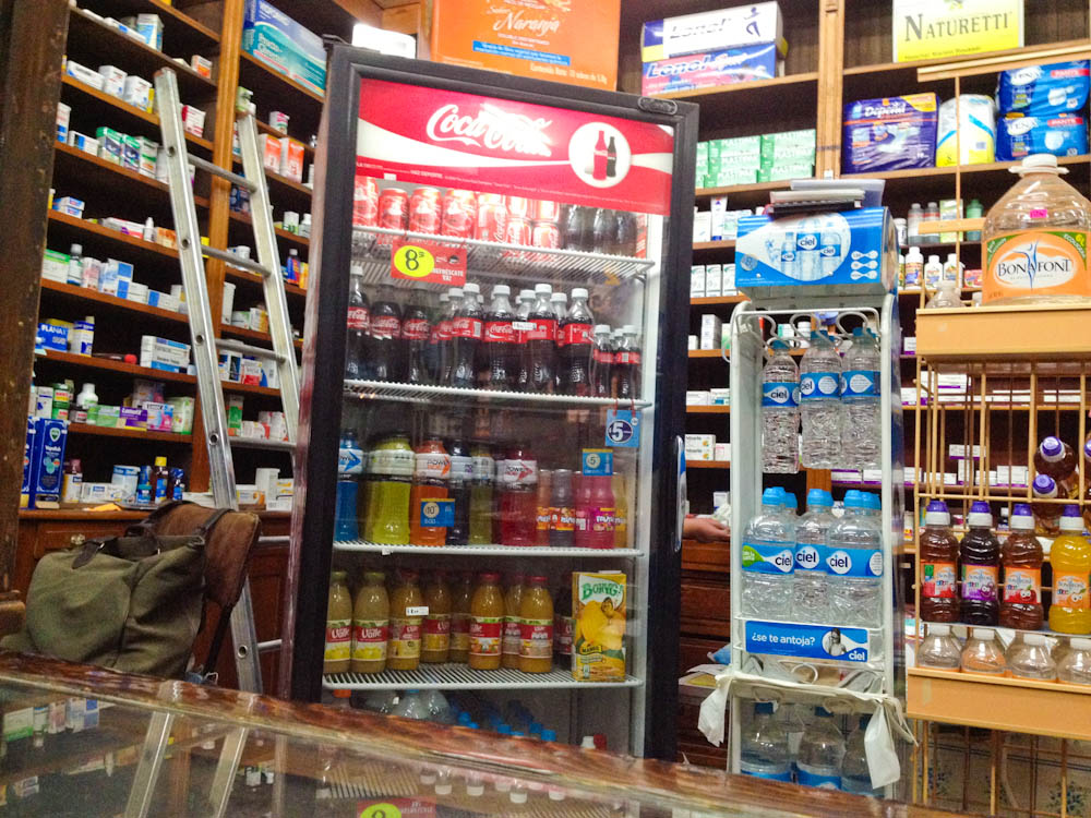 Your average pharmacy in Mexico: meds, cosmetics, coke, chocolate... the usual! ;)