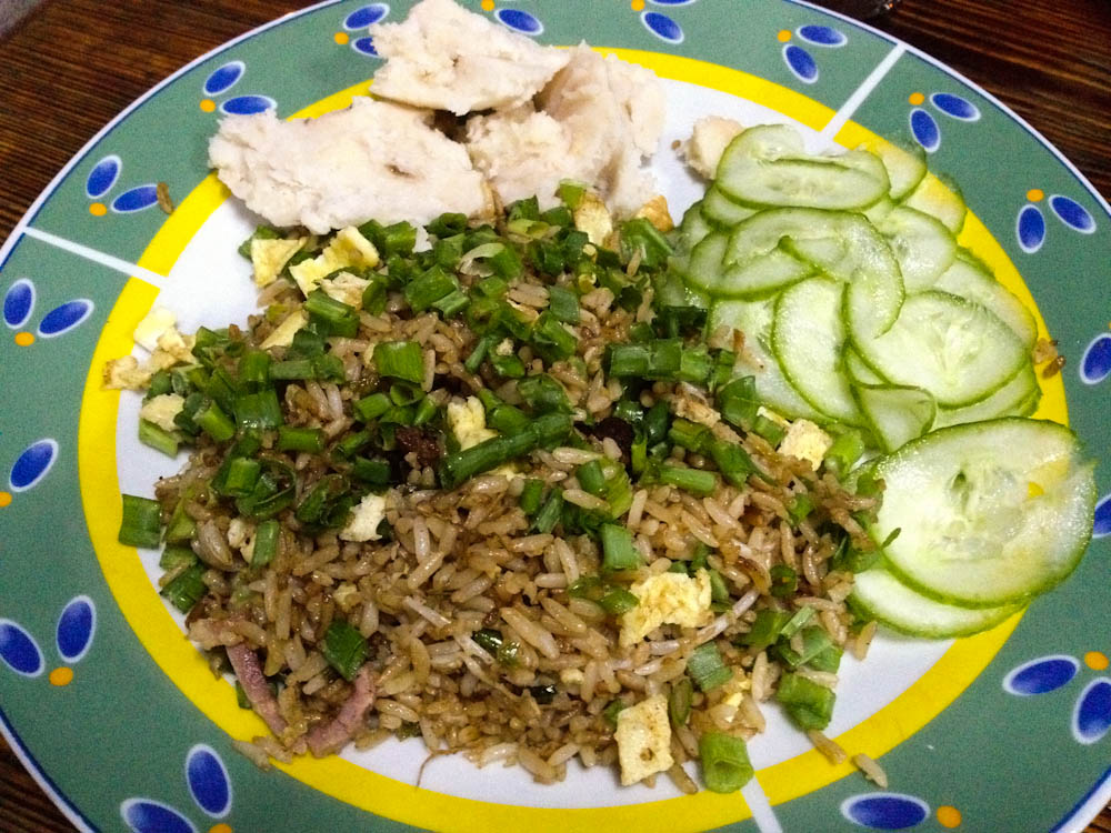 Fried rice: the single best meal we had in Cuba. Full of flavor! But with an off side of mashed cassava...