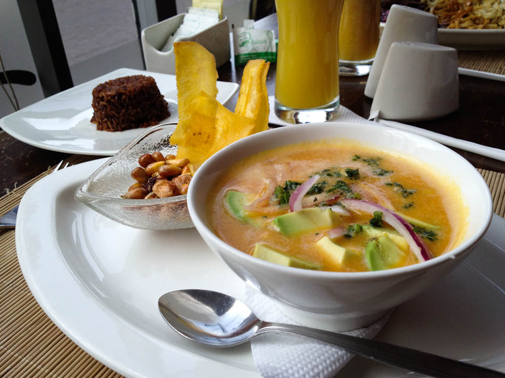 Fancy Ecuadorian cuisine: chicken and avocado ceviche in passion fruit sauce, served with chocolate rice.