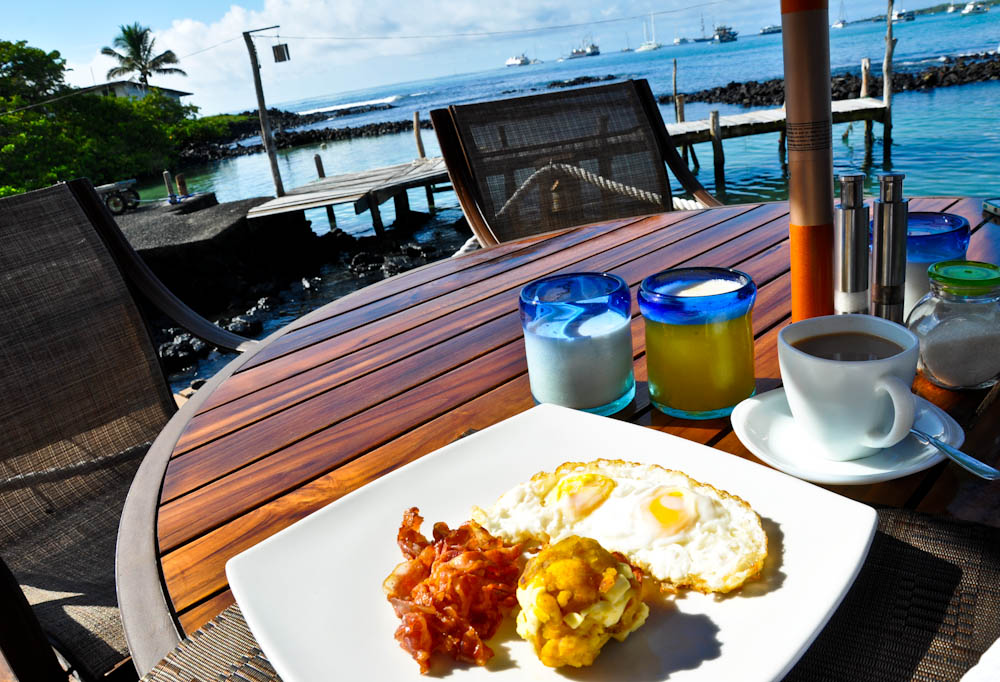 Breakfast with a view: eggs, bacon and fried plantain balls with cheese.
