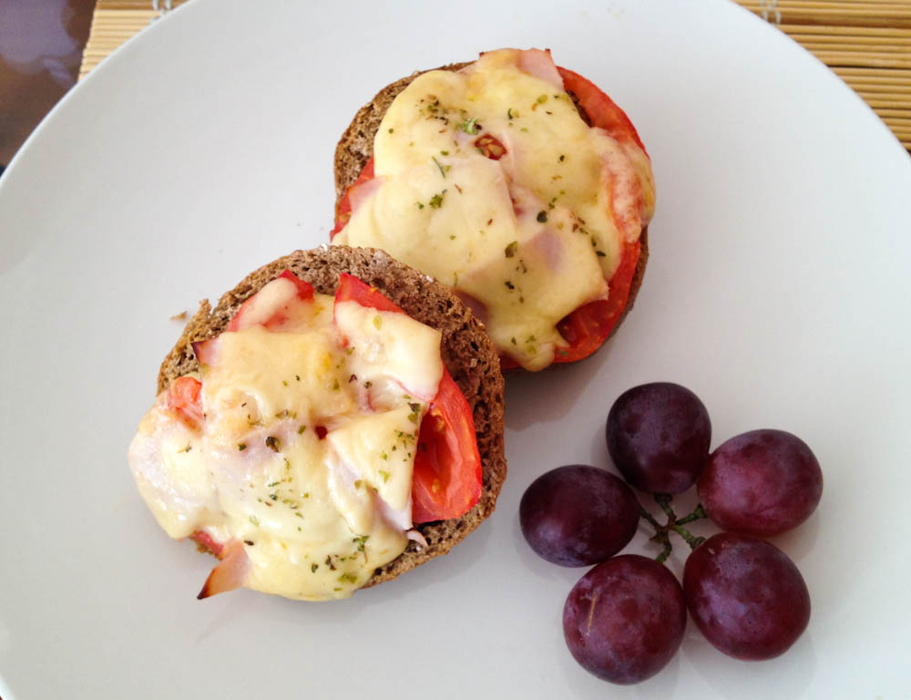 Vienna toast for breakfast: whole wheat bread, tomato, turkey and cheese, falling in warm sweet love in the oven.