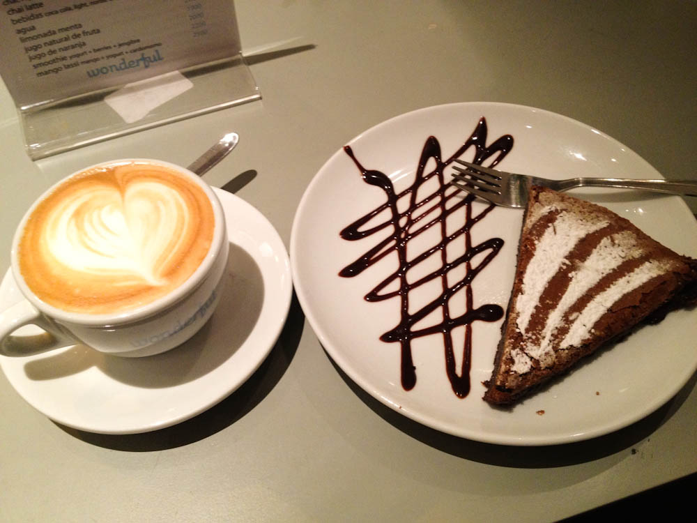 Cappuccino and chocolate cake at Wonderful Cafe, Santiago.