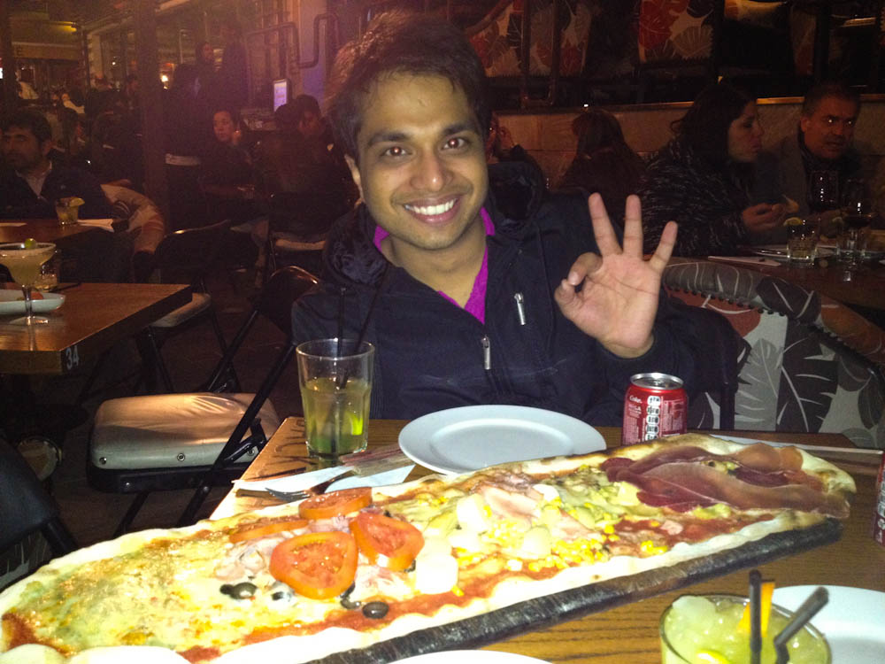 The biggest pizza we've ever had! Ayush came to visit and ate almost all of it!...