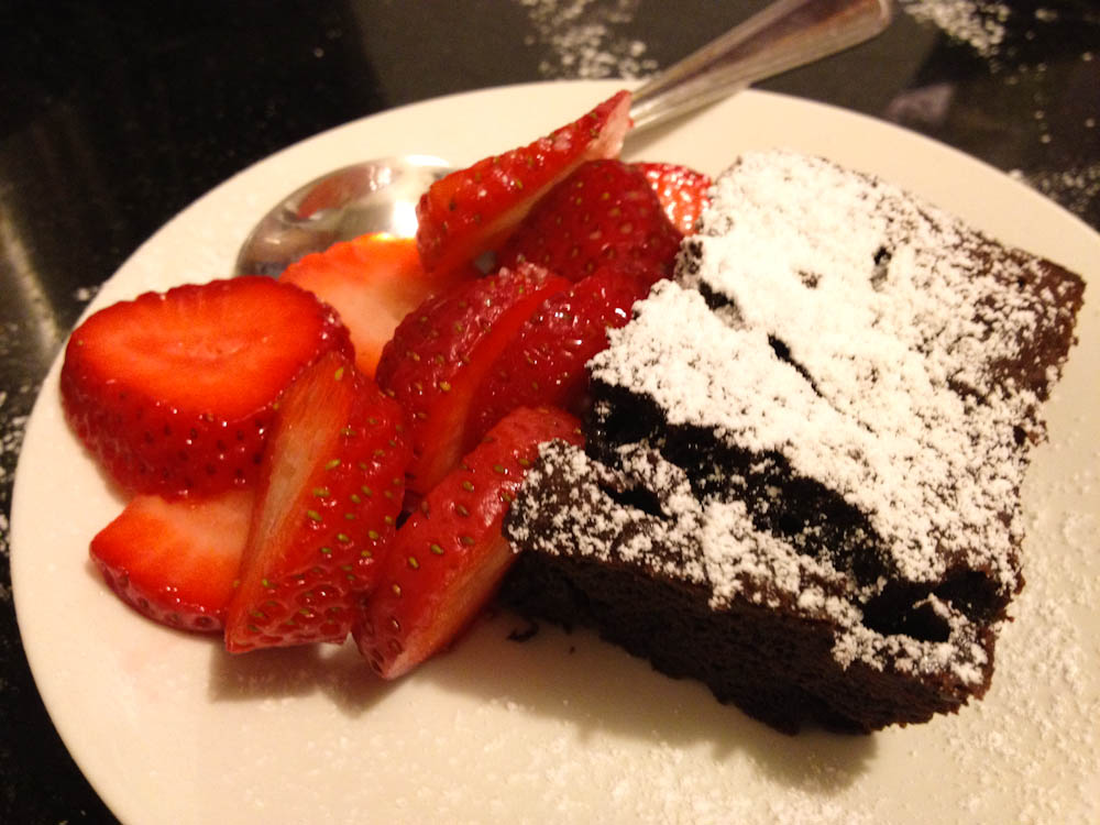 Homemade flour-less chocolate cake. I am proud of this one 'cause it put a smile in more than one face!