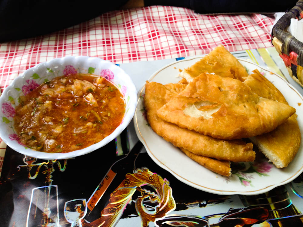Sopaipillas: typical fried bread with tomatoes and chilly sauce to dip!