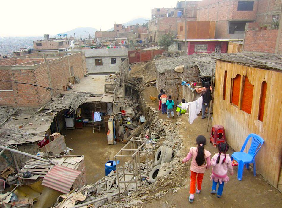 Children walking between their houses