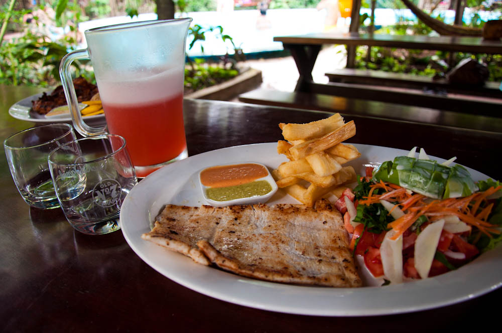 Grilled chicken with yuca fries and camu camu juice. Apparently camu camu fruit is endangered but it is truly delicious.