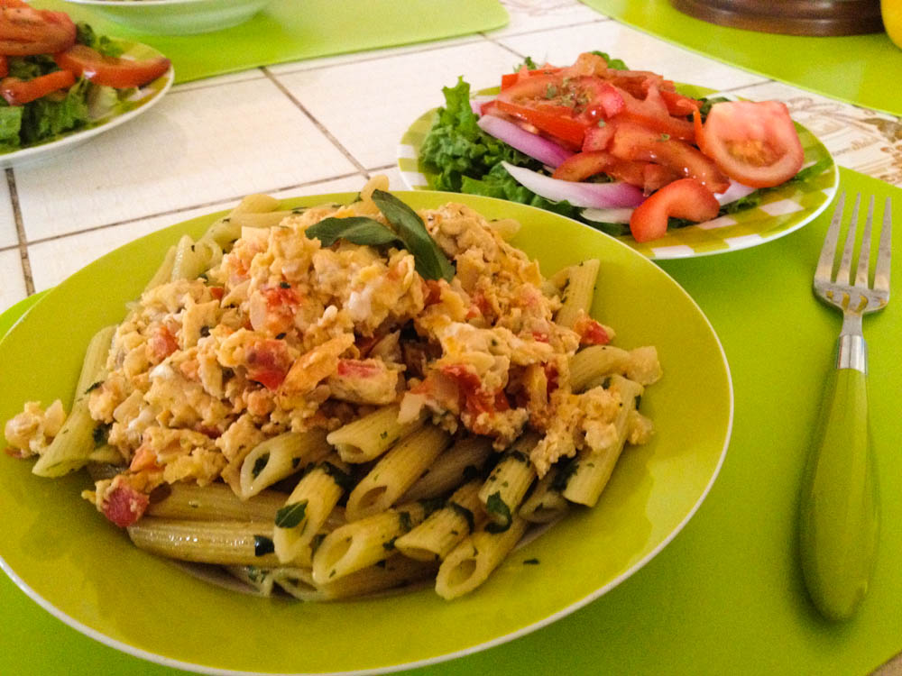 Basil pasta with tomatoey eggs and salad.