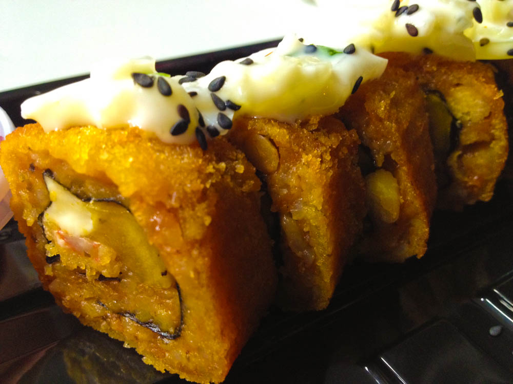 Deep fried fusion sushi: it had a filling of plantain. Different, but I'd still go with traditional sushi...
