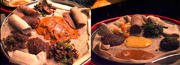 Ethiopian food: meat platter and vegetarian platter