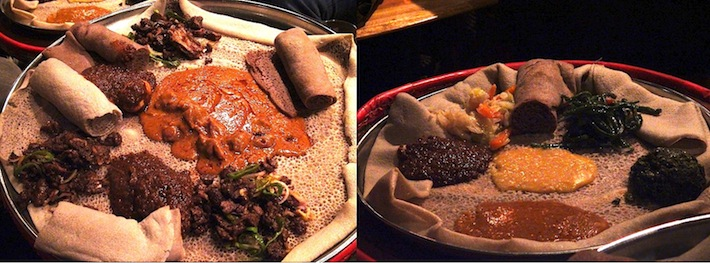 Best of Ethiopian food: meat platter and vegetarian platter