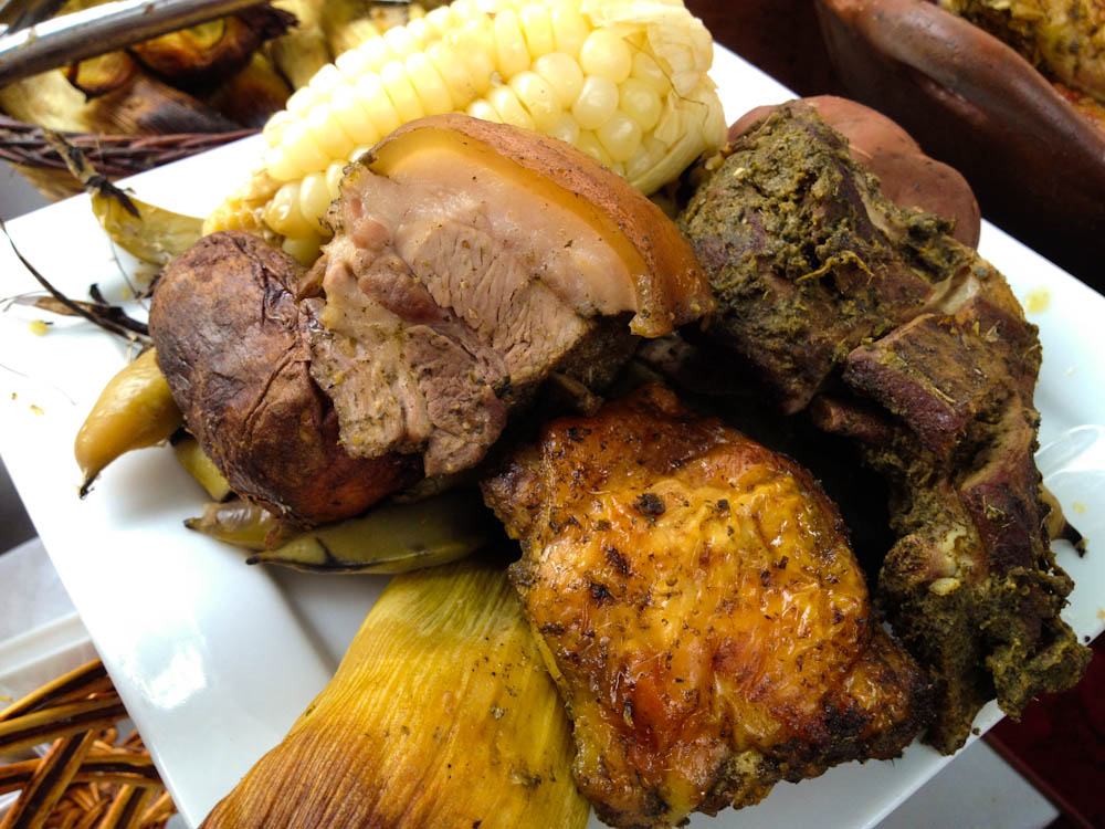 Pachamanca: typically from the Andean region, a variety of meats are cooked with hot stones.