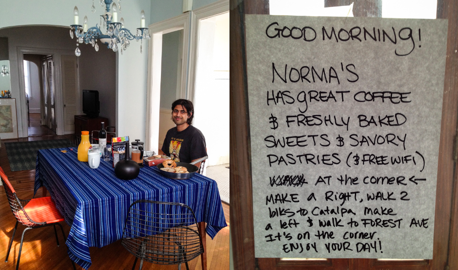 These breakfast and note are examples of how nice Sabrina & John are!