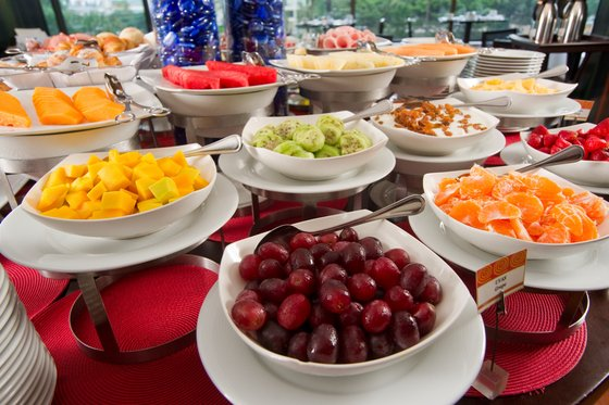 Beautiful fruits during desayuno at Radisson Decapolis in Lima, Peru