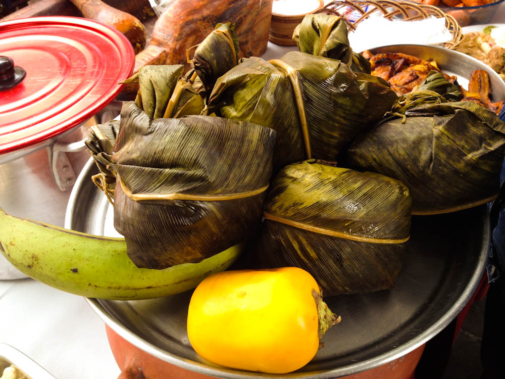 Juanes de Gallina: perhaps one of the most iconic dishes from the Peruvian Amazon. Balls of rice stuffed with minced chicken, wrapped and steamed in banana leaf for a fresh green scent.