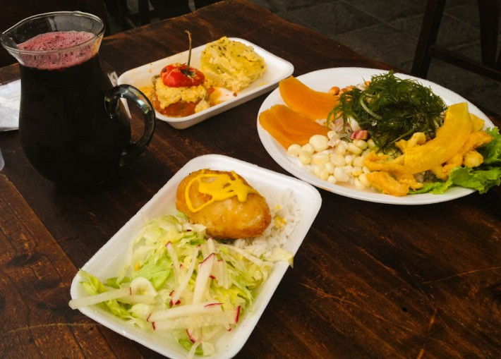A sample of Peruvian food in Lima