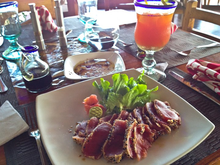 Mouthwatering tuna ponzu in Galapagos Islands, Ecuador