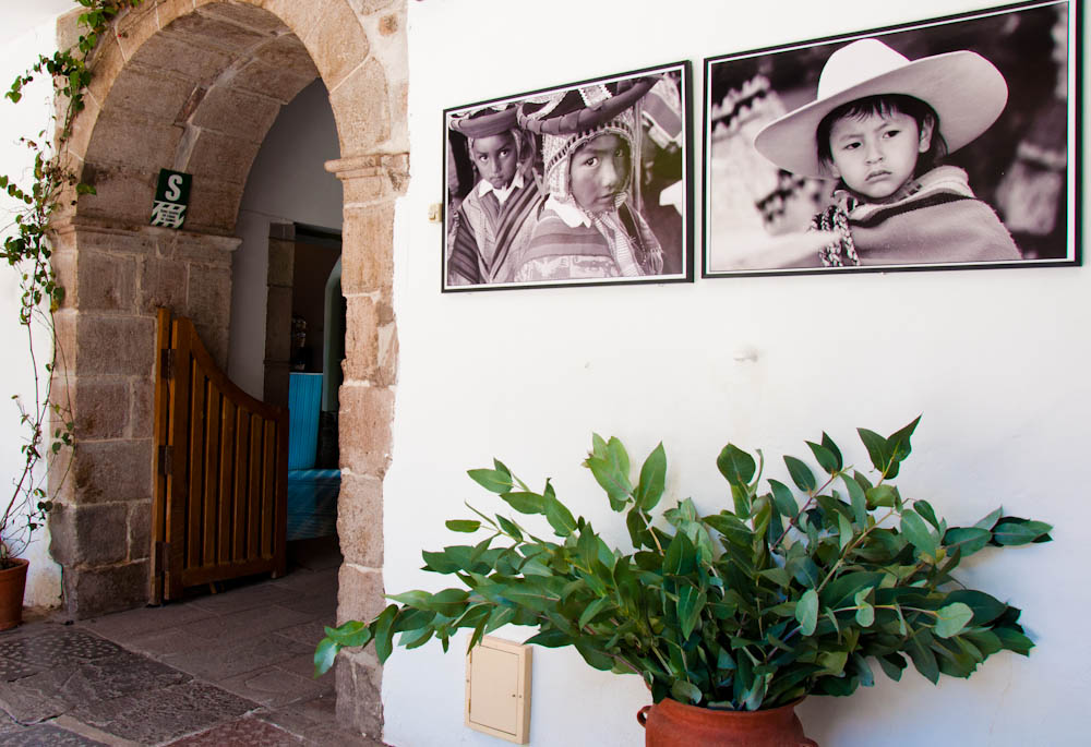 Photos of local kids by the entrance of the hotel