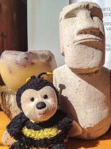 Bee and a typical Moai souvenir that can cost double or triple the price, depending on the store.