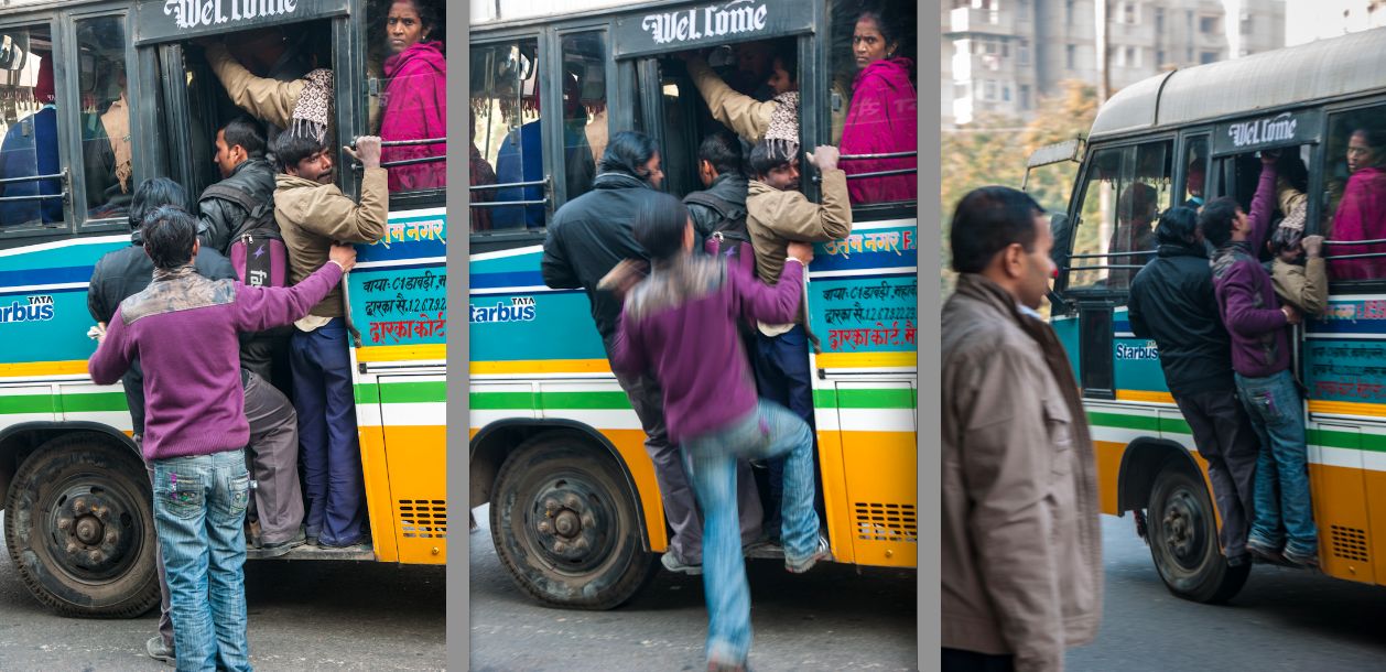 How to get inside a Delhi public bus during rush hour!