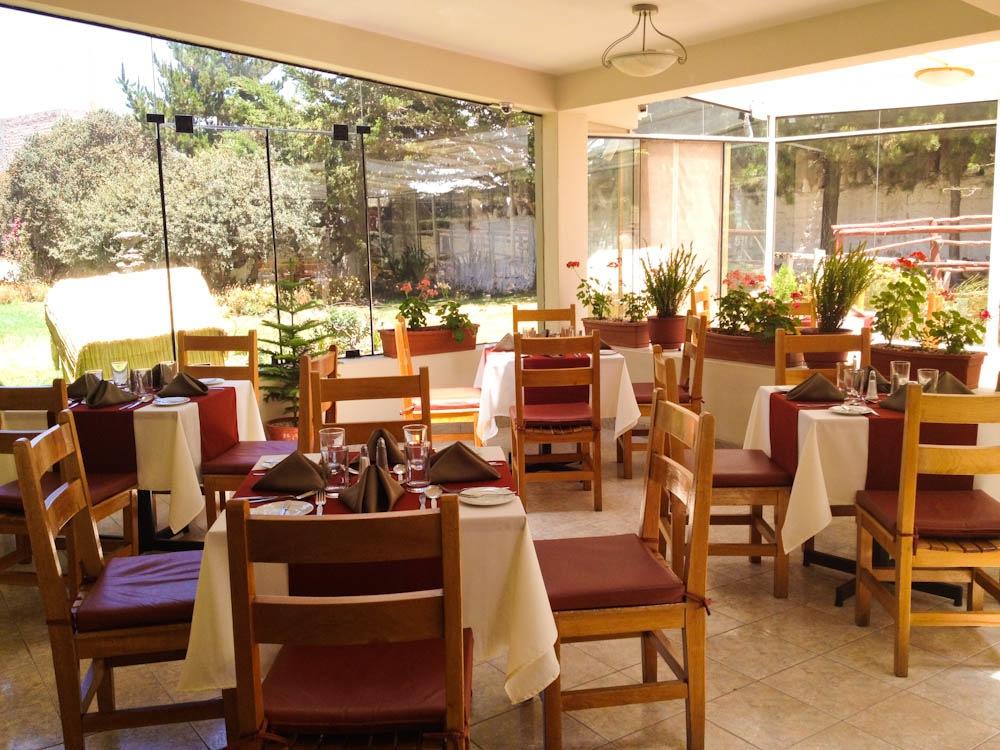 Sunny restaurant area