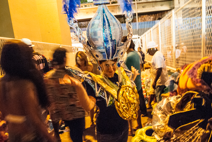 Trying out some costumes from a samba school, right after their parade.