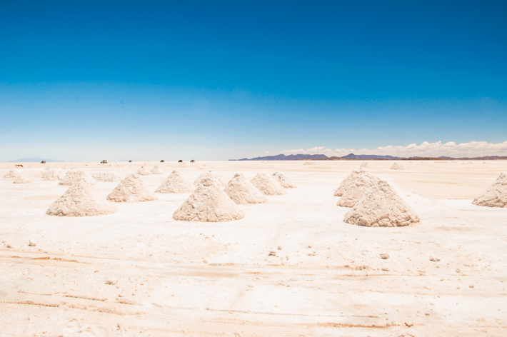 Collection of salt at the entrance of the salt flat