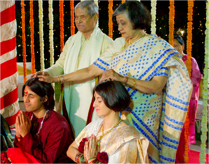 Receiving blessings at our wedding