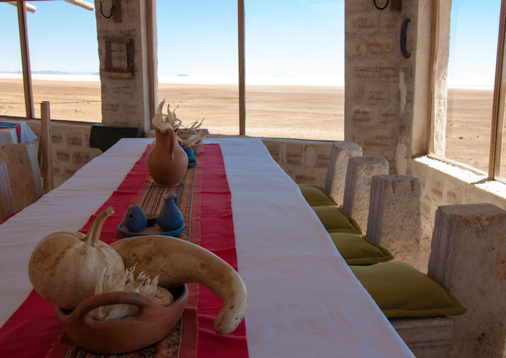 Restaurant with a view over Salar de Uyuni
