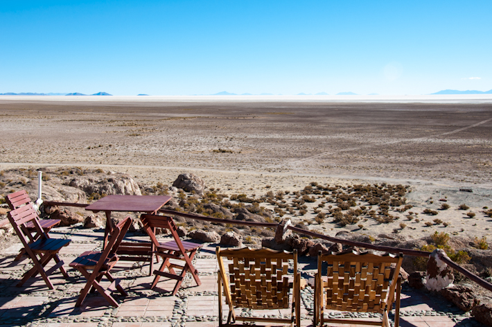 Outdoor seating with view towards the salar