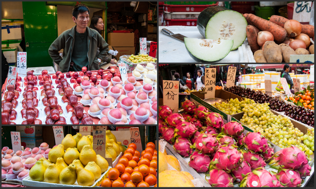 Some of the fruits found at the wet market