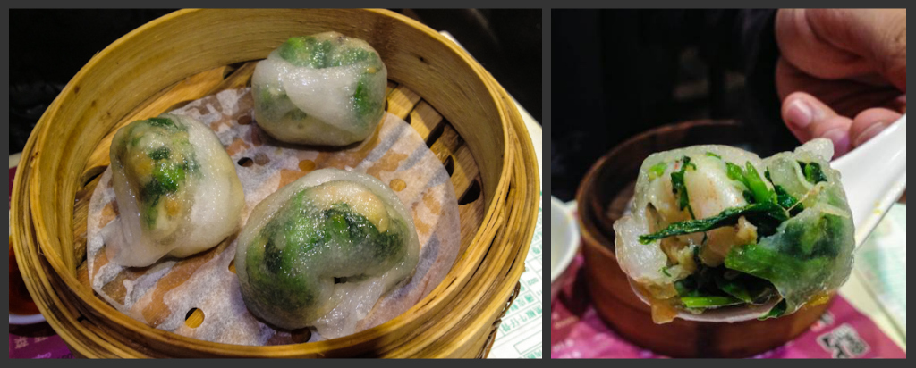 Prawns and greens steamed dim sum - our favorite of the night!