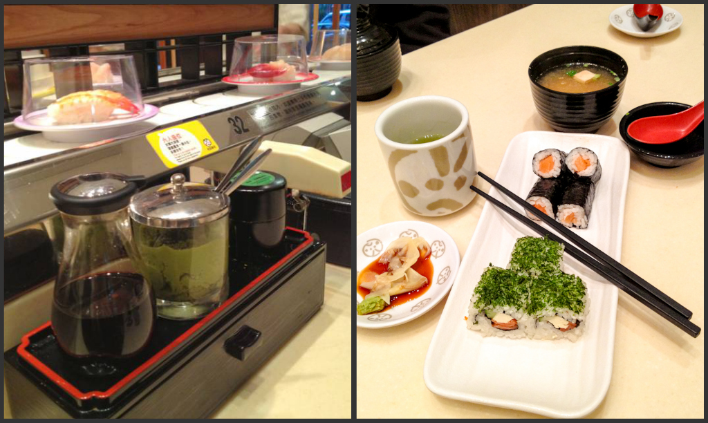 Miso soup, salmon & tuna maki and green tea